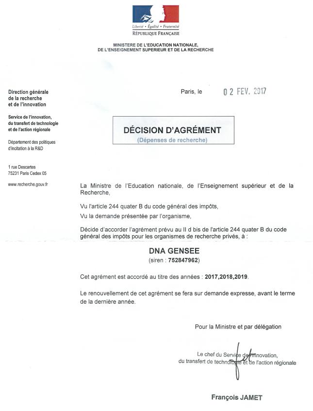 Laboratoire recherche et developpement ADN